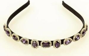Gk-Style Unikatowa opaska ozdobna na włosy diadem tiara fioletowa MAZZINI