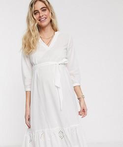Mama Licious Mamalicious Maternity – Biała luźna dżersejowa sukienka z kaskadowym dołem-Biały