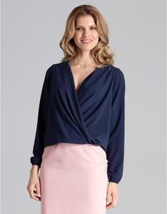 Niebieska bluzka Figl z długim rękawem z dekoltem w kształcie litery v
