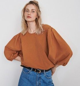 Brązowa bluzka Reserved z okrągłym dekoltem