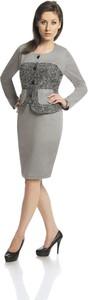Sukienka Fokus midi dopasowana z długim rękawem