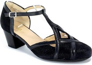 Granatowe sandały Alpina ze skóry z klamrami na średnim obcasie