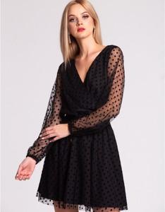 Czarna sukienka Swing Polish Fashion Concept z długim rękawem mini z dekoltem w kształcie litery v