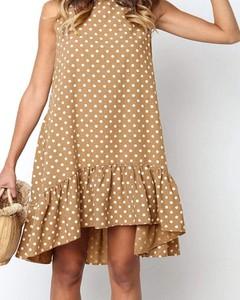 Brązowa sukienka Kendallme w stylu casual z okrągłym dekoltem trapezowa