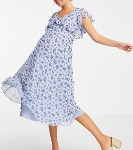 ASOS DESIGN Maternity – Sukienka midi w kwiaty z wiązaniem i falbanką-Wielokolorowy
