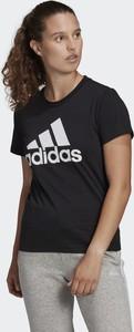 Czarny t-shirt Adidas z bawełny z krótkim rękawem