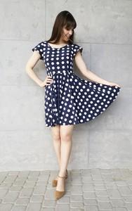 Granatowa sukienka Sklepfilloo z dekoltem w kształcie litery v w stylu casual mini