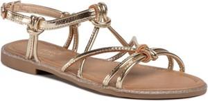 Złote sandały Jenny Fairy w stylu casual z klamrami