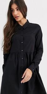 Czarna sukienka Asos koszulowa z bawełny z długim rękawem