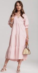 Różowa sukienka Renee z dekoltem w kształcie litery v bez rękawów