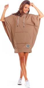 Brązowa sukienka Infinite You z okrągłym dekoltem mini sportowa