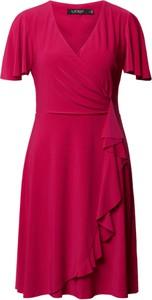 Różowa sukienka Ralph Lauren z krótkim rękawem mini kopertowa