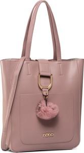 Różowa torebka eobuwie.pl duża na ramię zdobiona
