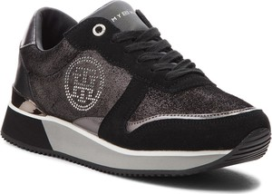 Czarne buty sportowe Tommy Hilfiger ze skóry ekologicznej w stylu casual na platformie