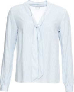 Niebieska bluzka bonprix BODYFLIRT ze sznurowanym dekoltem z długim rękawem