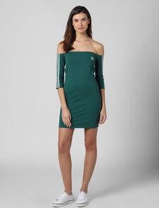 Zielona sukienka Adidas Originals mini hiszpanka z długim rękawem