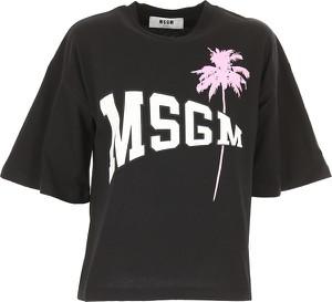 Czarna bluzka MSGM z krótkim rękawem z okrągłym dekoltem w młodzieżowym stylu