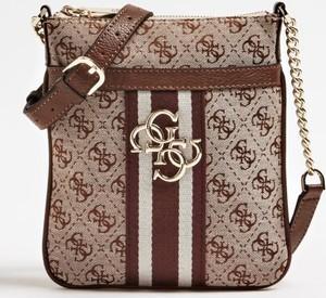 4a4c07a60c25c Brązowa torebka Guess średnia na ramię w stylu glamour