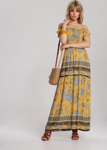 Żółta sukienka Renee rozkloszowana z krótkim rękawem w stylu boho
