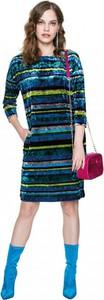 Turkusowa sukienka L'AF z długim rękawem midi