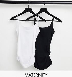 New Look Maternity – Zestaw 2 topów na cienkich ramiączkach w kolorze czarnym-Biały