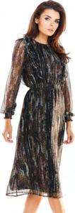 Brązowa sukienka Awama midi z szyfonu