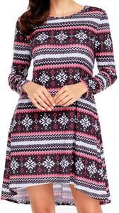 Sukienka Cikelly w stylu casual mini z okrągłym dekoltem