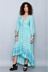 Niebieska sukienka Tarifa z długim rękawem asymetryczna