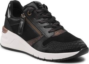 Czarne buty sportowe Tamaris w sportowym stylu