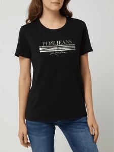 Czarny t-shirt Pepe Jeans z okrągłym dekoltem z bawełny w młodzieżowym stylu