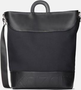 Czarna torebka Kazar w stylu glamour na ramię ze skóry