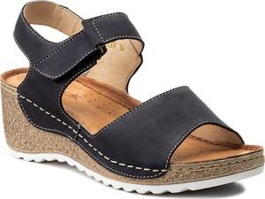 Fioletowe sandały wasak w stylu casual ze skóry