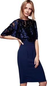 Granatowa sukienka ECHO z okrągłym dekoltem z tkaniny