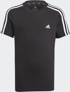 Czarna koszulka dziecięca Adidas dla chłopców z bawełny