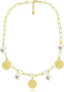Lian Art Łańcuszek Margot Danae z monetami i perłami - duże oczka - 24k złocenie