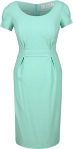 Zielona sukienka Fokus z okrągłym dekoltem z tkaniny