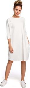 Sukienka MOE z okrągłym dekoltem oversize z długim rękawem