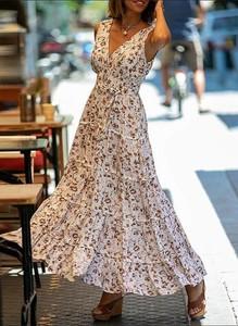 Sukienka Cikelly z długim rękawem z szyfonu w stylu boho