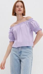 Fioletowa bluzka House z tkaniny z krótkim rękawem