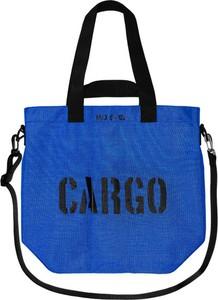 Niebieska torebka CARGO by OWEE w młodzieżowym stylu z nadrukiem na ramię