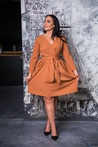 Sukienka tono.sklep.pl dla puszystych z długim rękawem z dekoltem w kształcie litery v