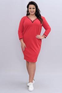 Czerwona sukienka KARKO midi z długim rękawem z dresówki
