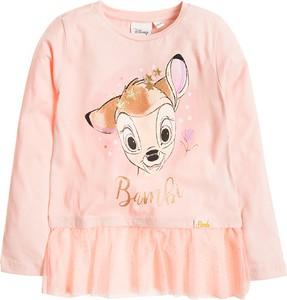 Różowa bluzka dziecięca Cool Club z bawełny z długim rękawem