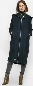 Czarny płaszcz Freeshion w stylu casual z wełny
