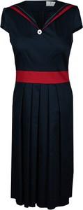 Granatowa sukienka Fokus z krótkim rękawem rozkloszowana