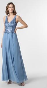 Niebieska sukienka SUDDENLY Princess z szyfonu rozkloszowana z dekoltem w kształcie litery v