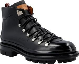 Buty zimowe Bally sznurowane ze skóry