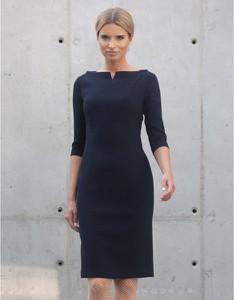 Niebieska sukienka Kasia Zapała z długim rękawem