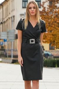 Czarna sukienka Grandio ołówkowa z dekoltem w kształcie litery v ze skóry