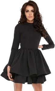 4063315d3b Czarna sukienka Ooh la la z okrągłym dekoltem rozkloszowana z długim rękawem